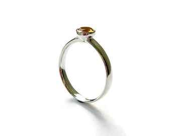 Citrine Ring, Dainty Silver Ring, Sterling Silver Ring, Gemstone, Ring for her, Citrine Jewelry, Modern, Gift