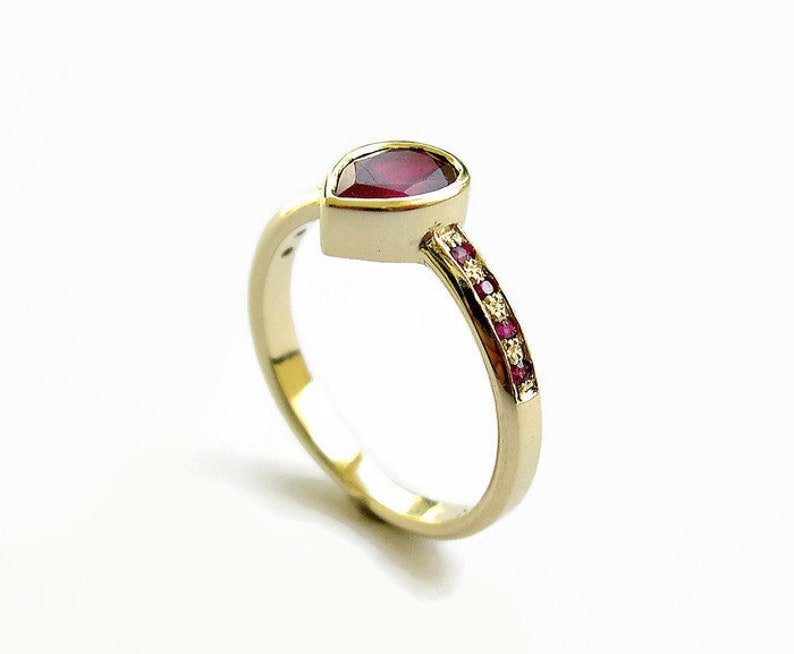 6b6c703d35 Ruby Ring, Red Stones Engagement Ring, Pear Ruby Gold Ring, Solid Gold Ring,  Teardrop Stone, Ruby Jewelry