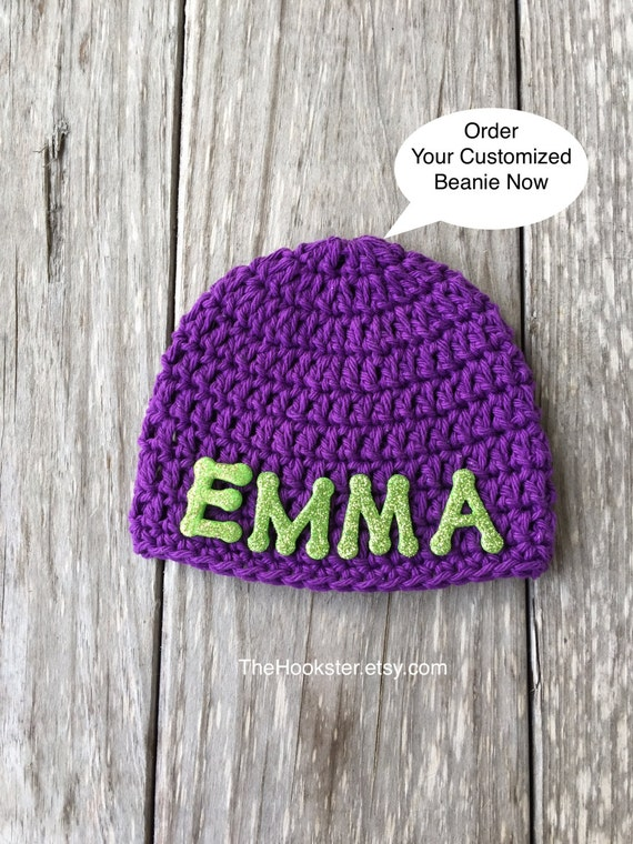 Crochet Baby Personalized Name Beanie Cap Newborn to 24  64a78a4f6f63