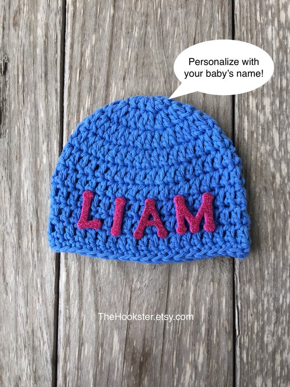 Personalized Baby Beanie Childs Name Baby Beanie Cap Crochet  022a2408509e
