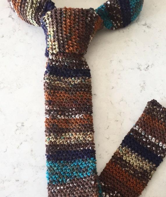 Hand Stricken Herren Krawatte Mehrfarbig Stricken Krawatte Etsy