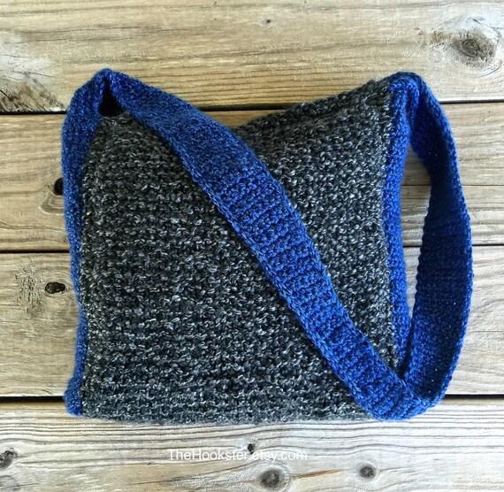 Bandolera gris y azul ganchillo y punto bolso en carbón y | Etsy