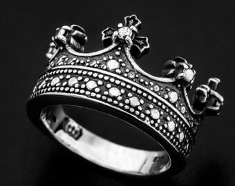 4ec9785e3b22 Sterling silver royal crown ring-Sterling silver queen ring-Sterling Silver  Kings Ring-Sterling Silver King Ring-Queen ring-royal crown ring