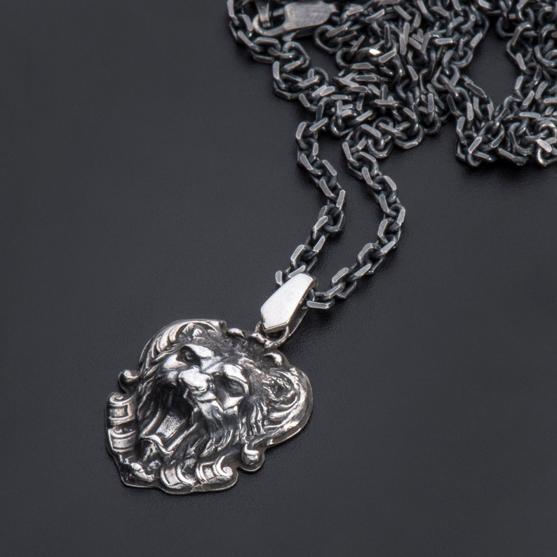 3914328051e Sterling Silver Lion head Pendant-Sterling Silver Lion