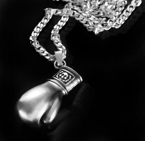 Boxing Gloves Pendant In 925 Sterling Silver Boxer Glove Charm Sport champion Bails Findings