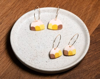 Golden drop earrings, polymer clay on gold filled hoops, light weight, unique gift