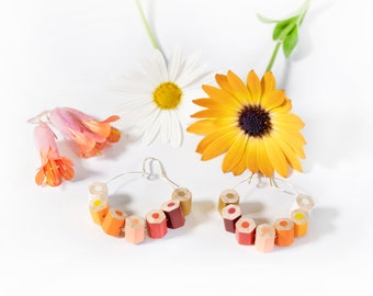 Drop earrings, autumn colors, handmade from colored pencils and sterling silver, perfect teacher gift