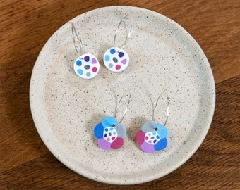 Colorful Earrings and Earstuds, dots and flowers, handmade from polymer clay and sterling silver, bright and light weight, perfect gift