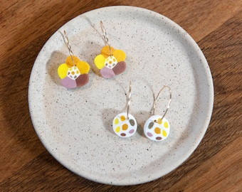 Flower and dotty earings and studs, yellow, orange, old rose and brown tones, polymer clay and gold filled hoops, unique earrings