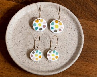 Colour wheel earrings, handmade from polymer clay, golden hoops, light weight, perfect gift