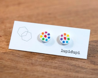 Rainbow dotty earrings or earstuds, handmade from polymer clay and sterling silver, bright and light weight, perfect gift