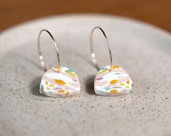 Colorful dangle earrings, beautiful patterns, polymer clay on gold filled hoops, light weight, special gift