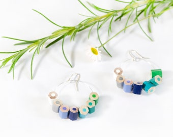 Drop earrings, blue and green tones, handmade from colored pencils and sterling silver, great teacher gift