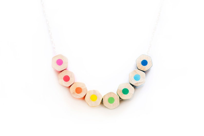 Colored pencil necklace on a sterling silver chain handmade image 0