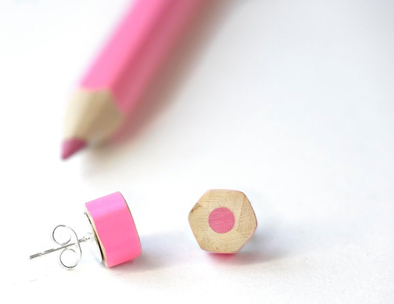 Pink earrings handmade from colored pencils  teacher image 0