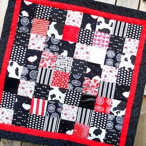 Barnyard Scenes Pastel Flannelette and Cotton Baby QuiltTummy Time Blanket