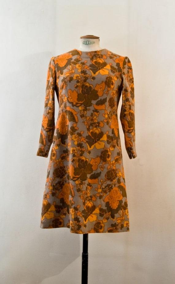 60s trapeze woolen floral dress