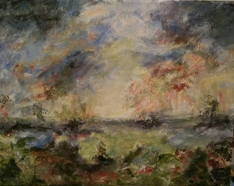 """11"""" x 14"""" """"The Flood""""   Acrylic on Canvas Painting by Bernadette, Artist"""