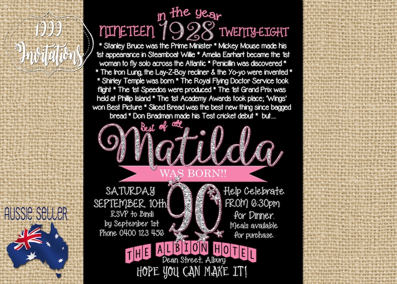 Printable 90th Birthday Invitation Born In 1928 Ninetieth