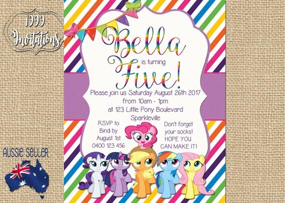 Do Druku My Little Pony Zaproszenie Pony Party Mój Mały Kucyk Etsy