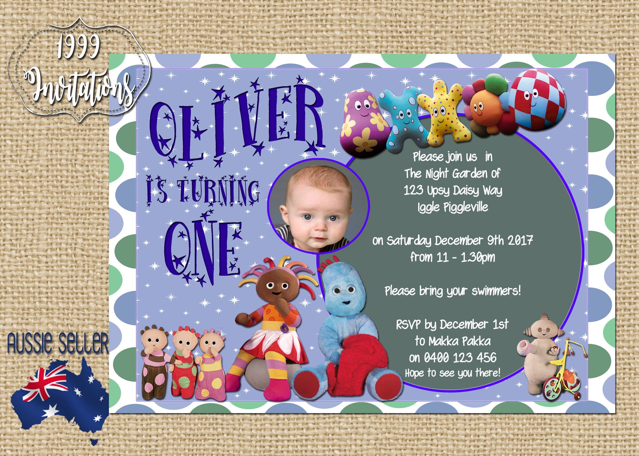 Printable In The Night Garden Invitation Iggle Piggle Party | Etsy