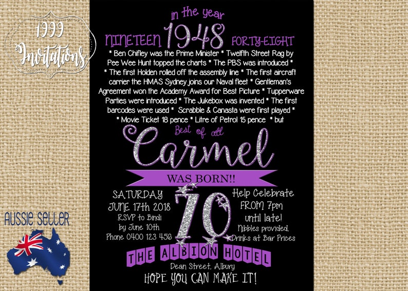 Printable 70th Birthday Invitation 1948 Purple Seventieth