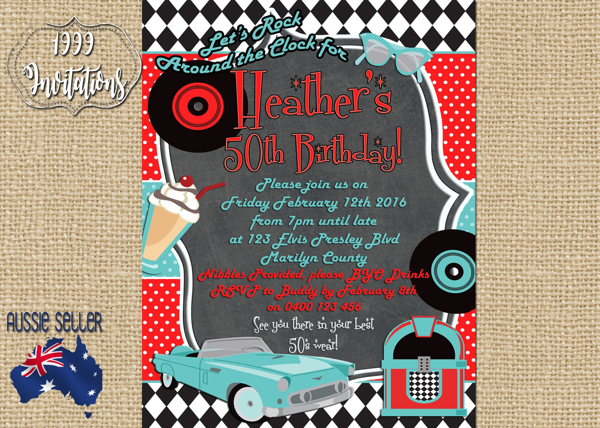 Printable Rock and Roll Invitation Rockabilly Party Rock | Etsy