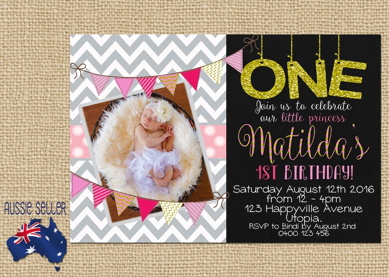 Printable 1st Birthday Invitation Chevron Bling
