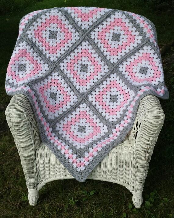 Rosa und grauen Oma Square Baby Decke Baby-Decke häkeln Baby   Etsy