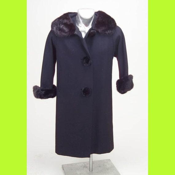 Vintage Wolle Besitzer Original Pelz Kragen 1940er Jahre Schwarz Damen Mantel dBxeroC