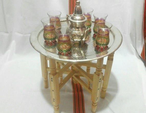 Marokkanische Teegläser Tee Tablett Kupfertablett Tisch Etsy