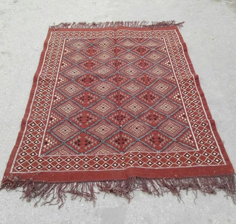 Marron tapis tapis kilim marron tapis Kilim rouge tapis | Etsy