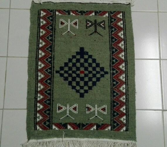 Small Rug Small Green Rug Moroccan Rug