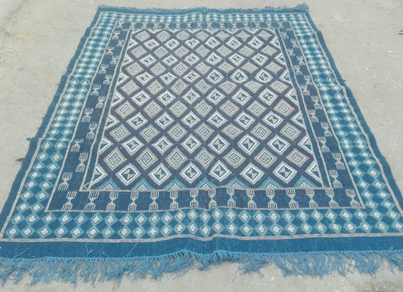Tappeti Kilim Marocco : Grande tappeto blu blu kilim tappeto tappeto margoum kilim etsy