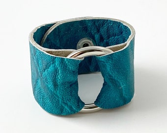 """Ring of Hope Cuff Bracelet in """"Crinkle"""" Turquoise Buffalo Hide Leather"""