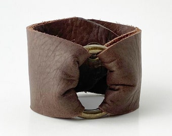 Ring of Hope Leather Cuff Bracelet in Chocolate Brown - Handcrafted