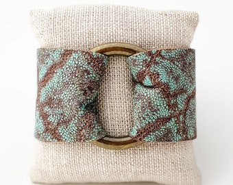 Ring of Hope Embossed Leather Cuff Bracelet