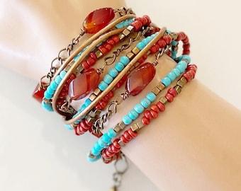 Triple Wrap Bracelet - Carnelian Gemstone - Tucson Gems - Handcrafted