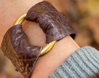 Chocolate Brown Leather Cuff With Brass Ring