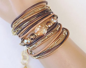 Triple Wrap Leather Bracelet with Cable Chain & Crystal Accents in Soft Earthy Tones