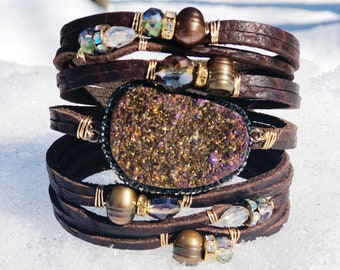 Chocolate Brown Shredded Leather Cuff Bracelet, with Gemstones, Druzy, Freshwater Pearls, Crystals, Statement Cuff