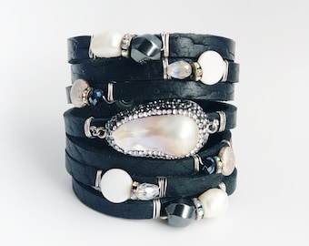 Shredded Black Bison Leather Cuff Bracelet with Bling, Freshwater Pearls, Crystals, and Hematite