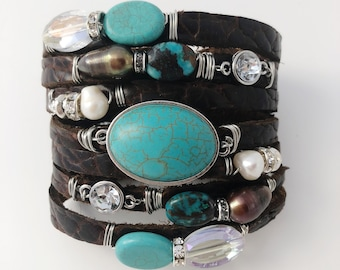Southwest Split Leather Cuff Bracelet, in Textured Chocolate Brown Bison Leather, Turquoise, Freshwater Pearls, Crystals and Rhinestones
