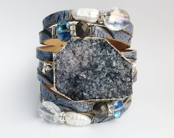 Gray Electroplated Druzzy Wrapped in Sterling Silver, Shredded Leather Cuff with Freshwater Pearls and Crystals