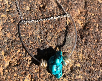 Turquoise Nugget and Sterling Silver Necklace