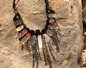 Natural Stone Goddess Necklace, Statement Necklace