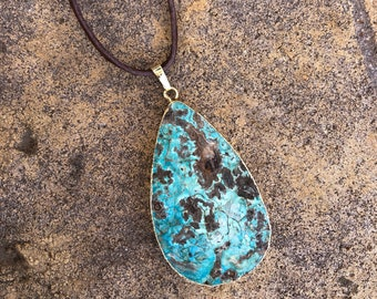 Ocean Jasper Pendant Necklace on Leather Cord