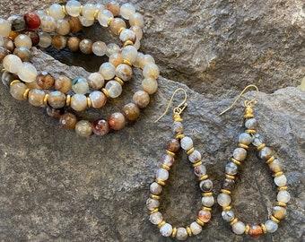 "Polished Agate Stone Bracelet & Earring Set - ""Lucille"""