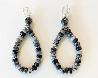 Black Network Agate Stone Teardrop Hoop Earrings