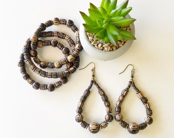 """Java Wood Beaded Stretch Bracelet and Earrings Set - From the Resort """"Bali Collection"""""""